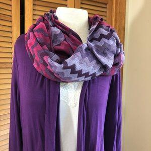 "27""x75"" pashmina style long chevron scarf plums"